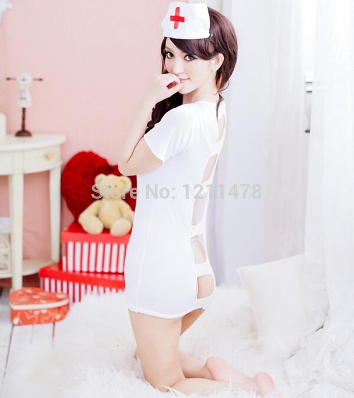 2015 hot sexy women exotic costumes nurse dress set for adult sex 1*cap 1*G-string 1*garment(China (Mainland))