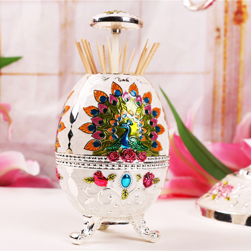 [New listing] creative gifts of fine zinc alloy of gold and silver epoxy peacock toothpick box household items(China (Mainland))