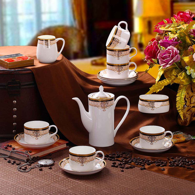 Fashion ceramic coffee set 15 piece fashion bone china coffee cup set 6 cups 6 saucers