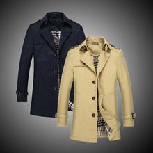 Free shippinp 2015 men's trench coat medium-long fashion slim long design wadded  men clothing plus size M-3XL 119cl(China (Mainland))