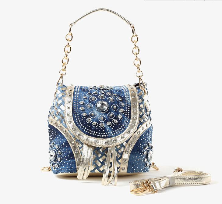 Women handbag denim+PU leather diamante single shoulder bags tote bag female lady bolsas feminina bag bolso mujer 2015 MAGIC 169(China (Mainland))