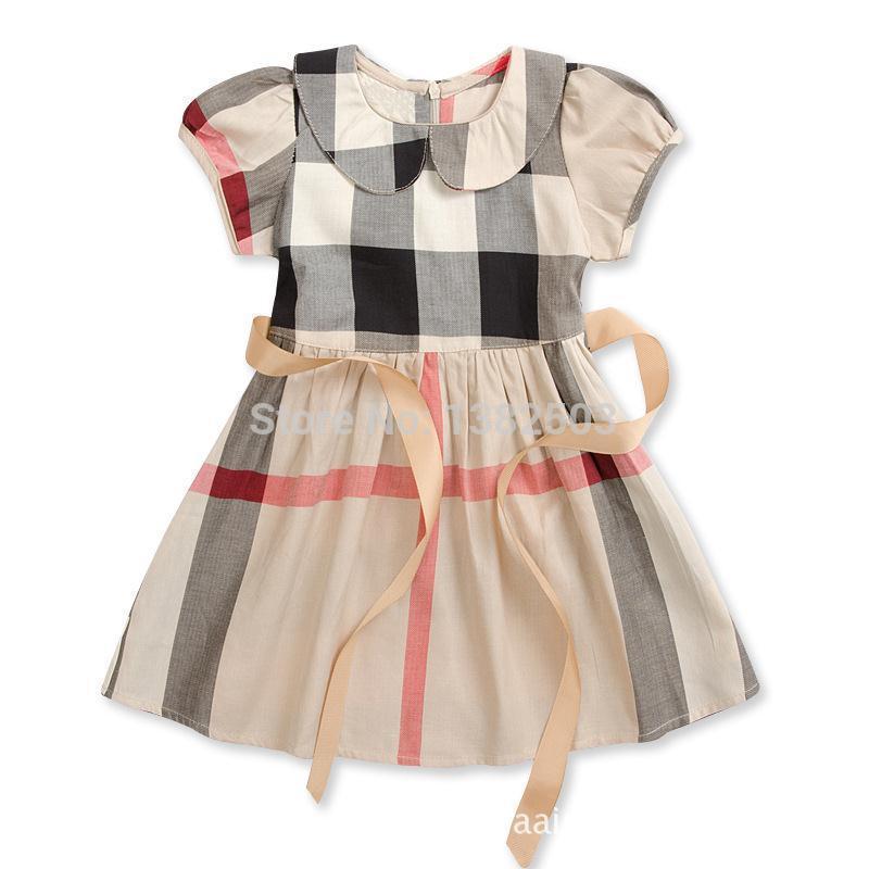 childrens girl dresses plaid style summer kids girls dress UK brand kids wear clothing 2-6yrs child dresses DF4(China (Mainland))