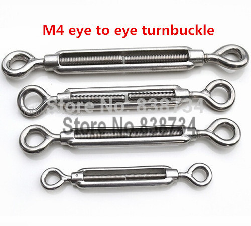 10pcs 304 stainless steel m4 turnbuckle strainer fence wire tensioner eye to eye(China (Mainland))