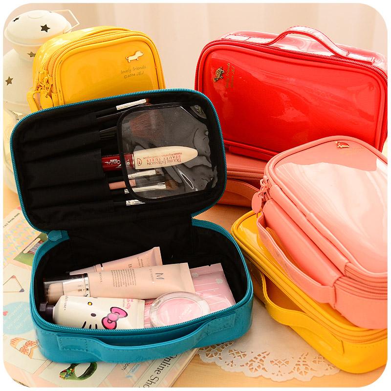 Korean Fashion Women's Waterproof Portable Cosmetic Bag Travel Makeup Bags Large Capacity PU Leather Cosmetics Storage Bag(China (Mainland))