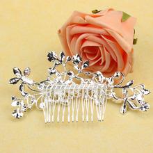 Women Girls Bridal Wedding Silver Crystal Rhinestone Diamante Flower Hair Clip Comb Pin Apparel Accessories Headwear