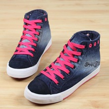 2015 New Spring Canvas Shoes Female Mixed Colors Denim Shoes Womens High Top Sneakers Flat