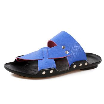 Мужчины слайды лето натуральная кожа пляж обувь сандалии для мужчины скольжение на ...