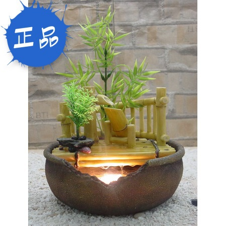 Small water fountain water features ornaments set blue green bamboo crafts wood tabletop decorations 4004(China (Mainland))