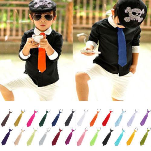 BOY TIE Kids School BOY Wedding Necktie Neck TIE Elastic Solid Colour Stain D B066(China (Mainland))