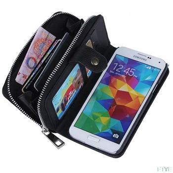 Леди женщины искусственная кожа молния сумки 2 в 1 бумажник кошелек с карты кармана ремешок телефон чехол для Samsung Galaxy с . в . S5 I9600