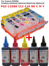 For CANON PIXMA IP4810 IP4910 IX6510 MG5210 MG5310 printer PGI125 CLI-126 refillable ink cartridge+ 5 Color Dye Ink 500ml