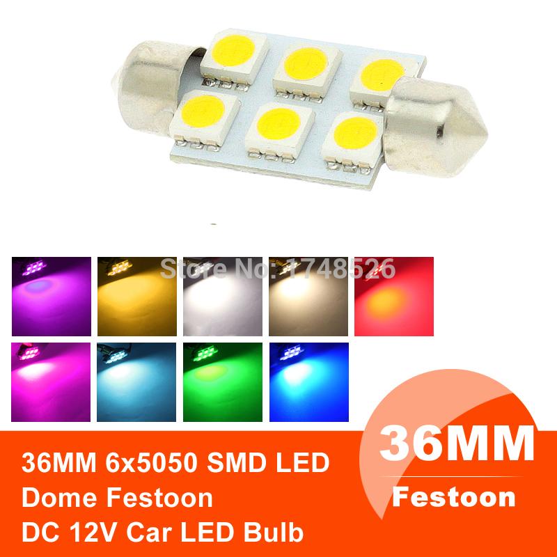 Xenon White 36mm Festoon 5050 Cold SMD 6 LED C5W Car Led Auto Interior Dome Door Light Lamp Bulb Pathway lighting 12V Work Lamp(China (Mainland))