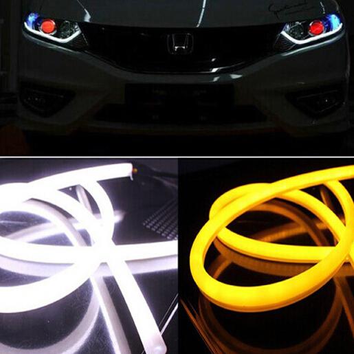 2pcs 45cm Flexible LED DRL Switchback Strip Tube Daytime Running Light Car Headlight With Tturn Signal light lamp(China (Mainland))