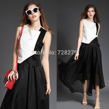 2015 Spring  Vest fluid Organza expansion Irregular Bottom Full dress Set New Women's Clothing Black  Fashion Summer Dresses