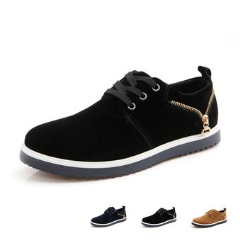Zipper decorative leather out material fashion men sneaker wearbel rubber sole flat men's shoe 2015 new sapato masculino #F08
