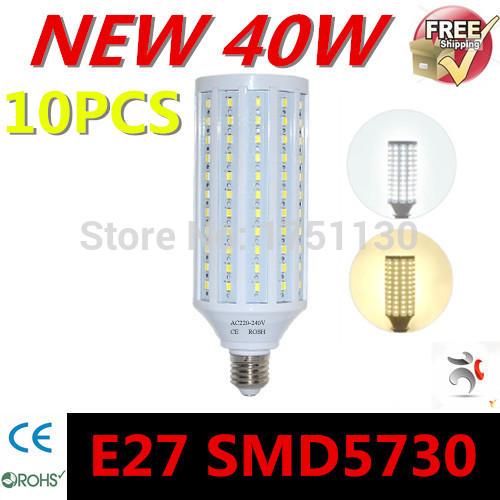 10pcs SUPER POWER 40W E27 LED Wall lamps 5730 SMD Corn LED Bulb Chandeliers 132 LEDs AC 220V 240V Pendant lights free shopping(China (Mainland))
