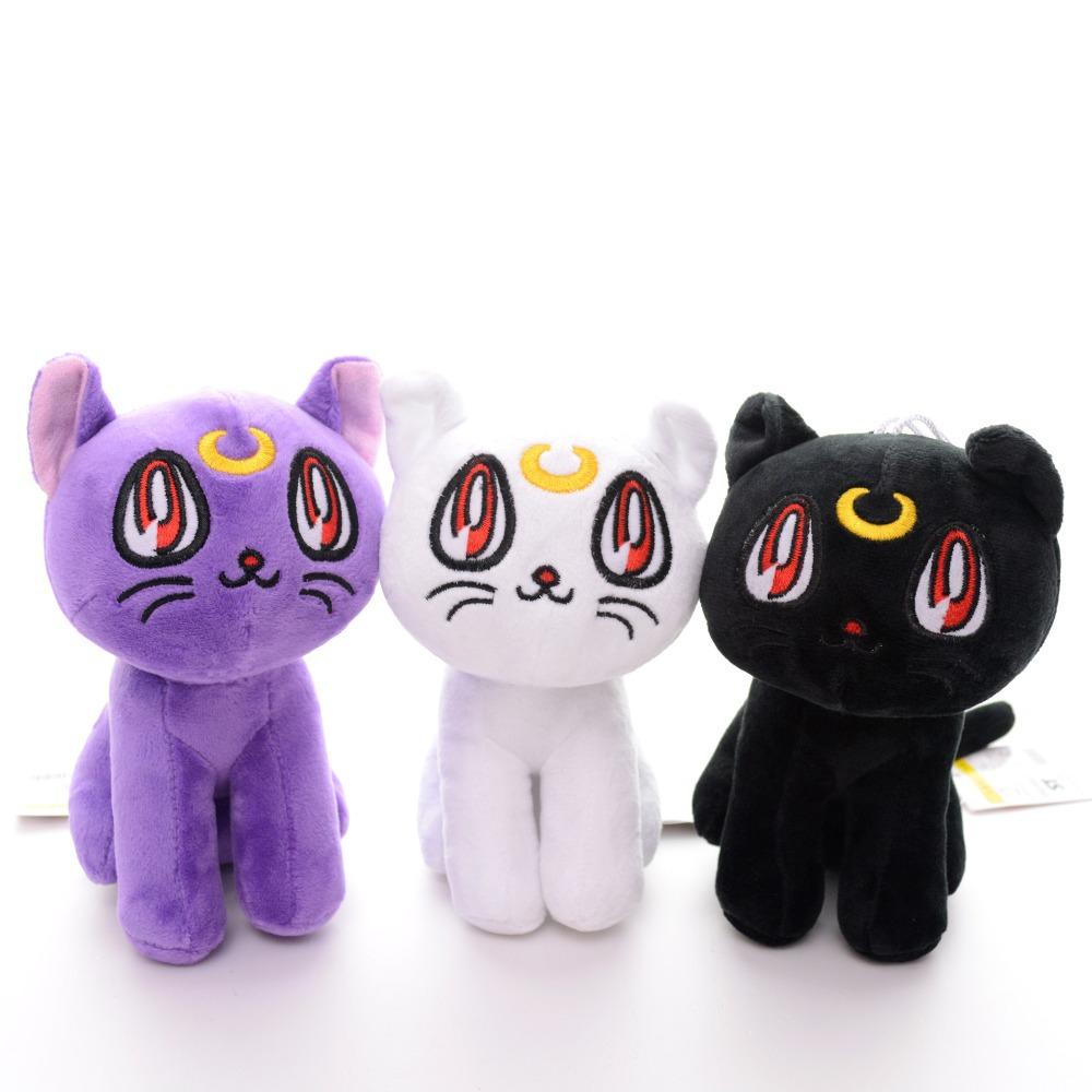 Kawaii Japan Sailor Moon Luna Cat Plush Anime Action Figure Cartoon Cats Collectible Girls Dolls Toys 7'' New(China (Mainland))