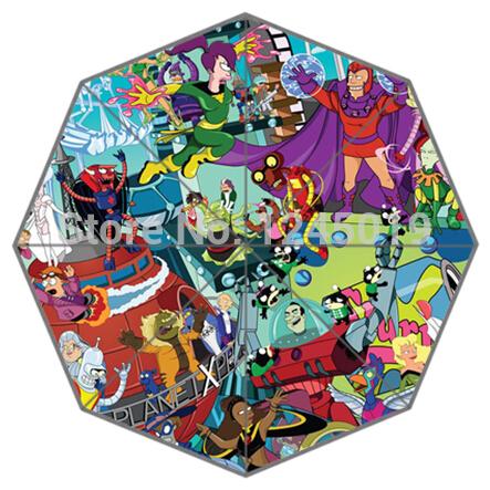Popular American Adult Animated Science Fiction Sitcom FuturamaAuto Foldable Umbrella for Free Shipping!(China (Mainland))
