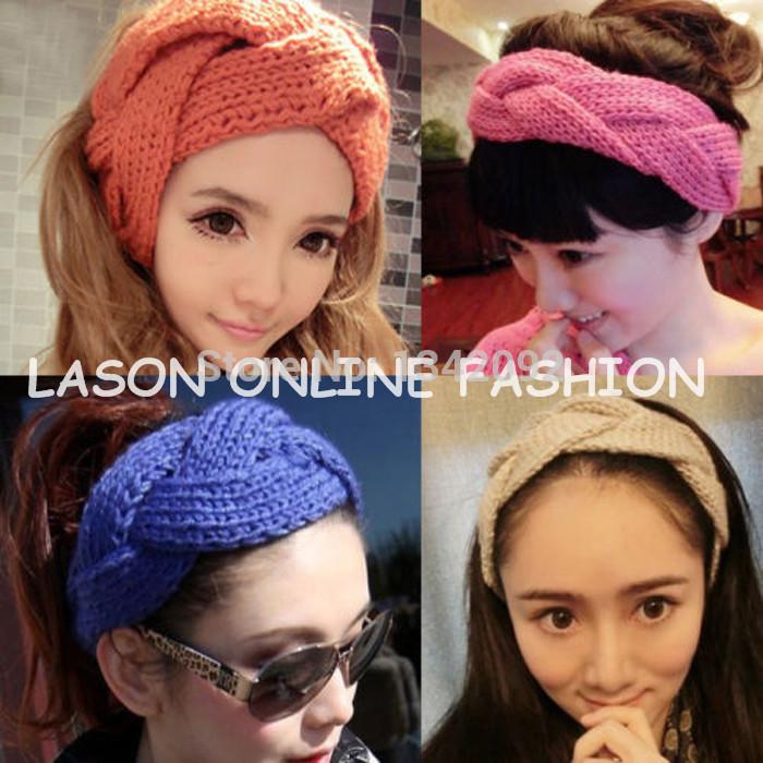 DHL/EMS Free Shipping 20Pcs/Lot Women Crochet Twist Knitted Headband Head wrap Winter Elastic Wide Hairband(China (Mainland))