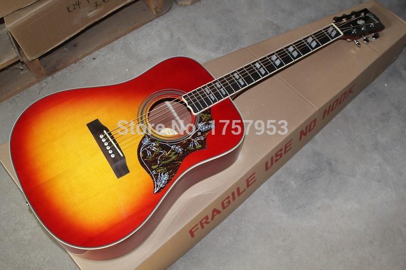 Free Shipping 2015 new Top Factory custom shop cherry sunburst hummingbird acoustic guitar 1 14(China (Mainland))