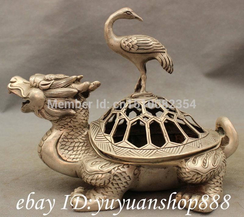 "9"" Chinese Silver Copper Crane On Dragon Turtle Statue Incense Burner Censer Set(China (Mainland))"