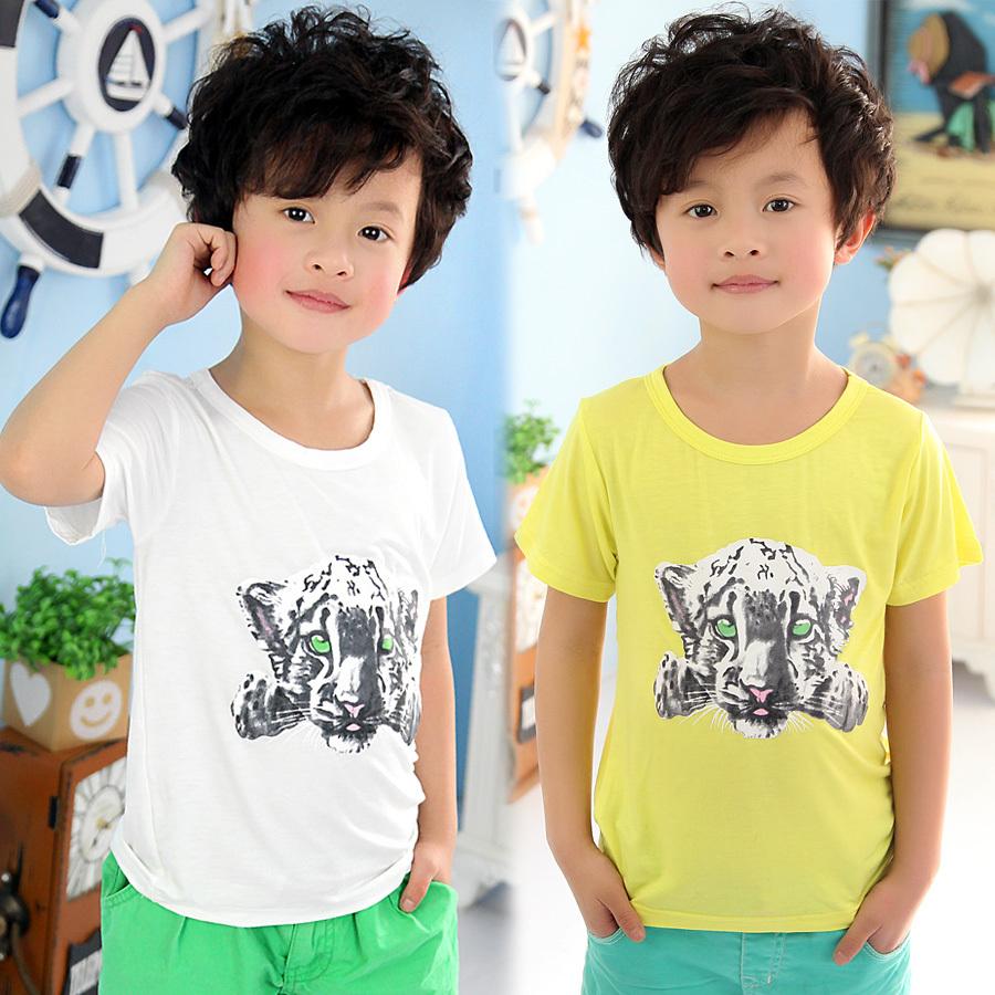 2015 Summer Boys Tiger Head T-shirt Baby Kids Cartoon Cotton Tops(China (Mainland))