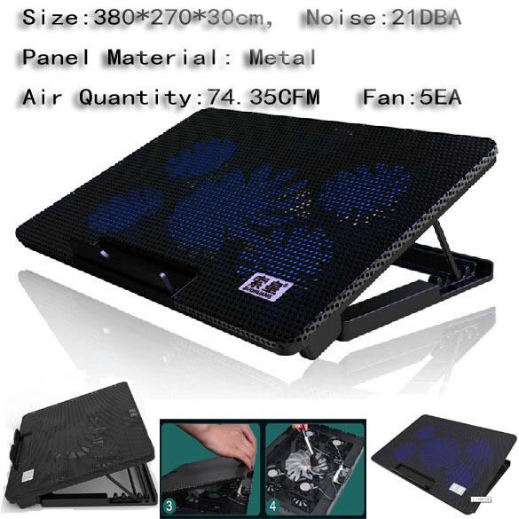 "Black , 5 Fans LED 1 USB Cooling Adjustable Stand Pad Cooler For Laptop Notebook 10""-17""(China (Mainland))"