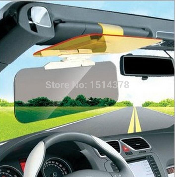 car sun visor goggles auto sunglasses shield flip sunshade cover sun visor clip Glare Proof Mirror For Day And Night(China (Mainland))
