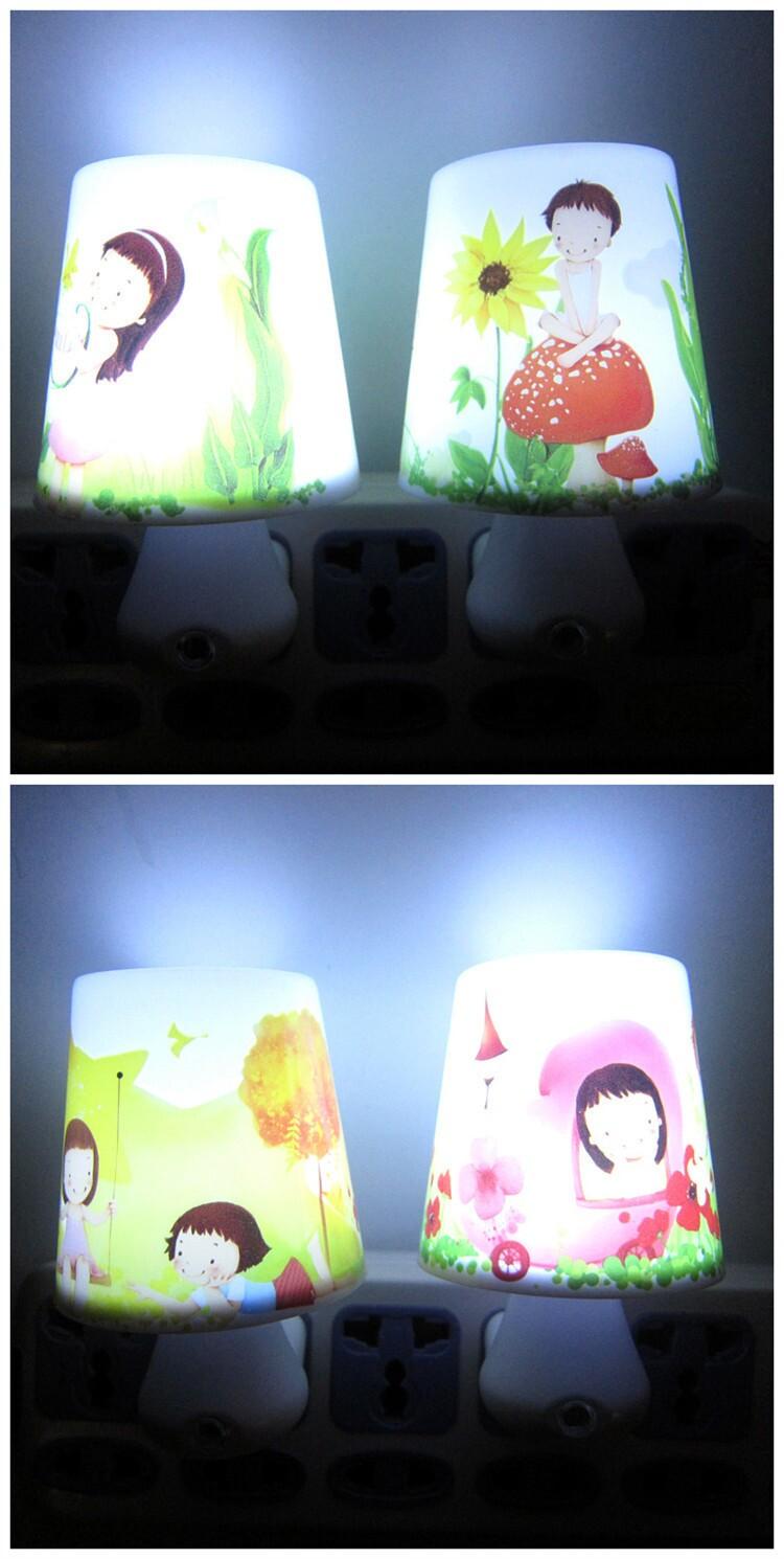 Induction led bedside lamp plug in light control nightlight night market(China (Mainland))