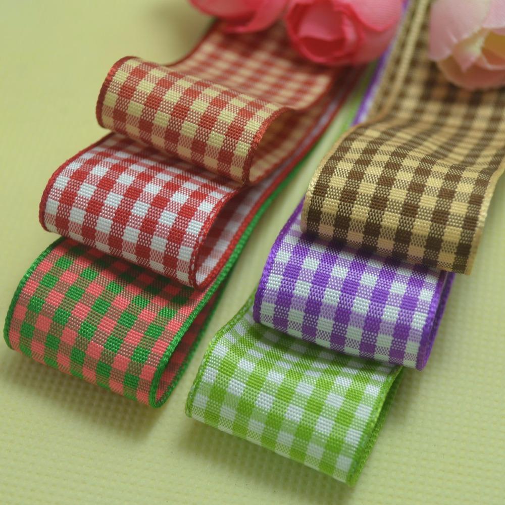 "[20yards/2color/lot, 1""(25mm)] printed scotland plaid grosgrain Ribbons mixed for wedding material and hair bows, free shipping(China (Mainland))"
