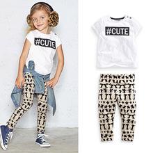 Summer Children Girls Casual short sleeve t shirt +legging pants 2 pcs clothing sets fashion kids Tees Cartoon trousers twinset(China (Mainland))