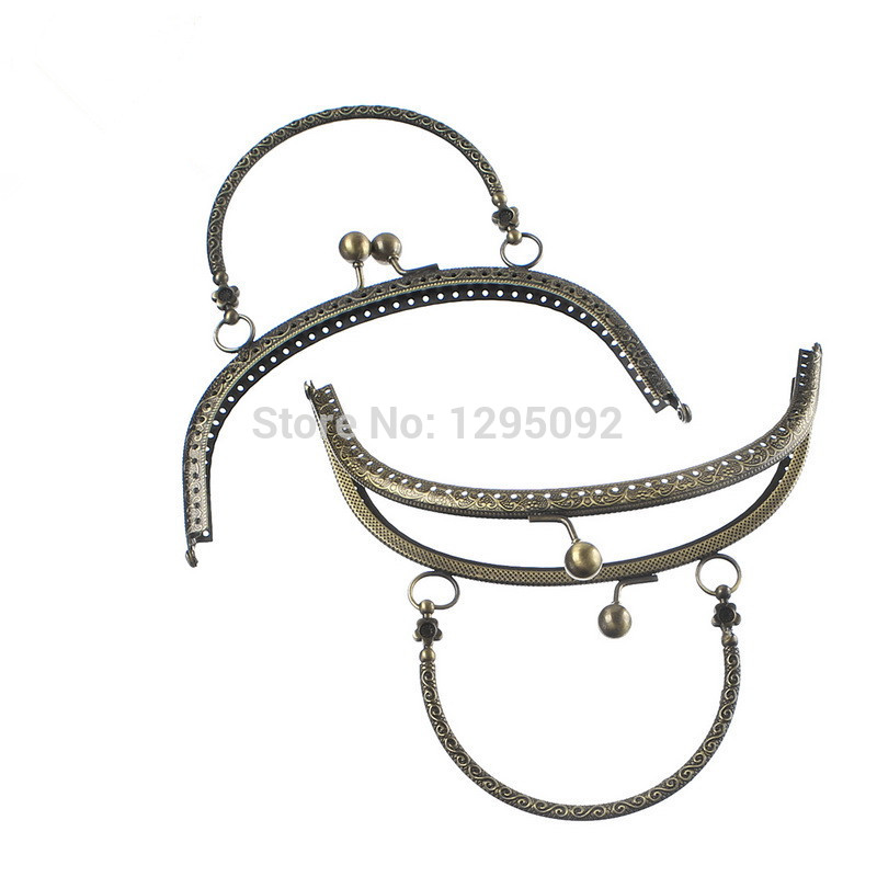 50Pcs Wholesales Bronze Tone Flower Arch Frame Kiss Clasp Lock With Handle For Purse Bag Handbag Handle Findings 16.5x9.5cm(China (Mainland))