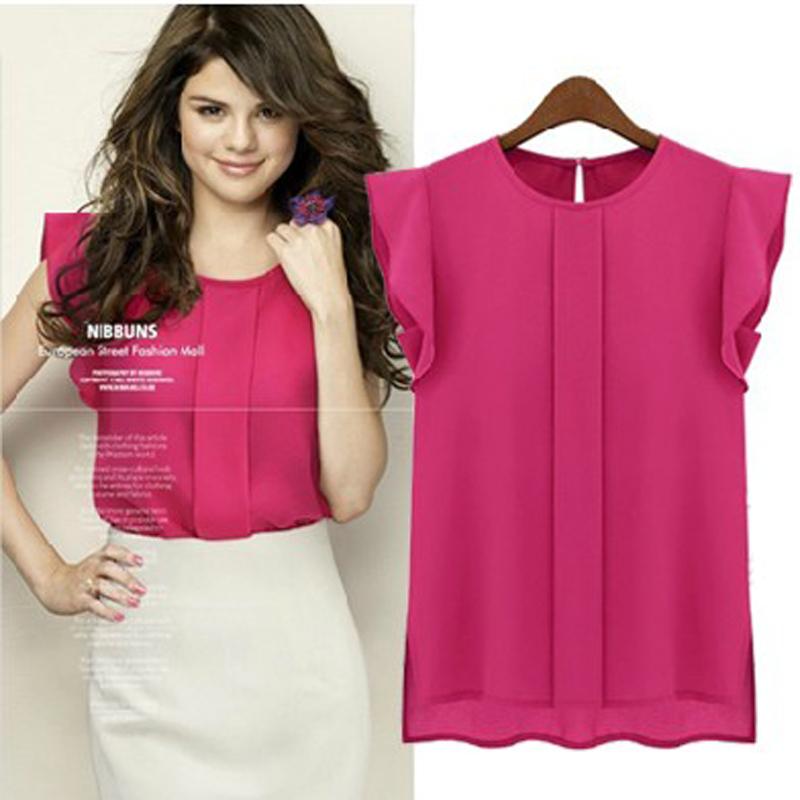 Горячих женщин блузки летом с коротким рукавом шифон о-образным вырезом трепал плиссированные рукава шифон рубашка женские топы лучше дешевые S-XL