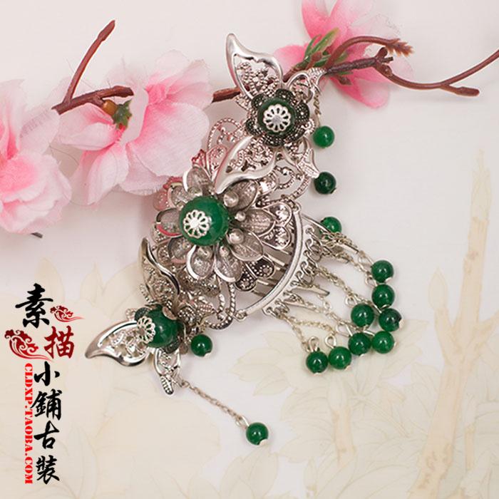 Bi Hua Yin Green Handmade Hair Comb Forehead Accessory Vintage Original Hair Jewelry (China (Mainland))