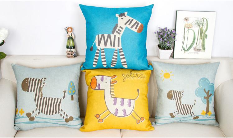 4 pçs/set textil 45 * 45 cm zebra dos desenhos animados crianças decoartion capa de almofada de algodão e linho materail(China (Mainland))