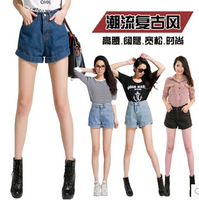 2015 new spring han edition of easing wide-legged high-waisted denim shorts female summer show thin edge plus sizes hot shorts