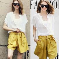 2015 New Fashion Clothing Set Women Casual Chiffon Blouse Solid Color Shorts Plus Size Loose Design US EU Hot Popular NZH132