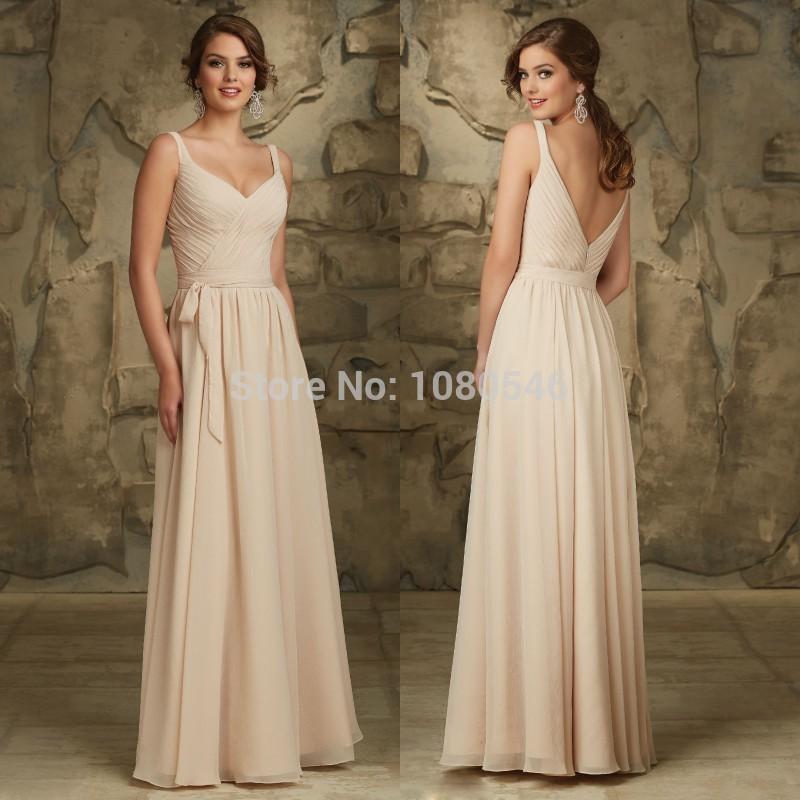 B3039 Elegant With Straps Pleat Long Floor Length Chiffon Bridesmaid Dress Wedding Gown(China (Mainland))