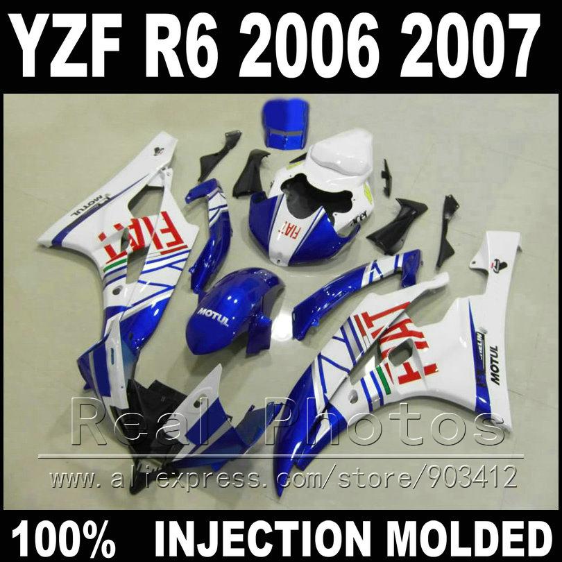 Hot sale bodywork for YAMAHA R6 fairing kit 06 07 Injection molding MOTUL blue white black in black 2006 2007 YZF R6 fairings(China (Mainland))