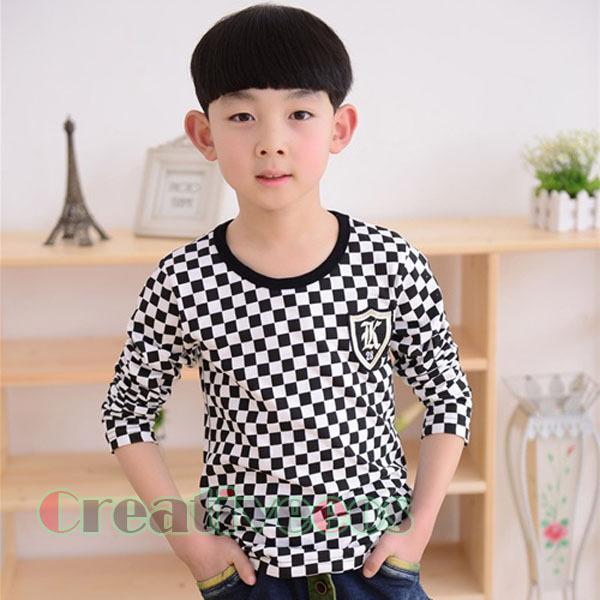 Stylish Fashion Child's Kids Toddlers Boys White Black Plaids 100% Cotton Tee Tops T-Shirt Shirt New(China (Mainland))