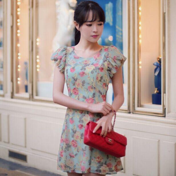 Korea Princess Chiffon Women Dress Slim Puff Sleeve Green Floral Dresses Fashion Summer Clothing(China (Mainland))