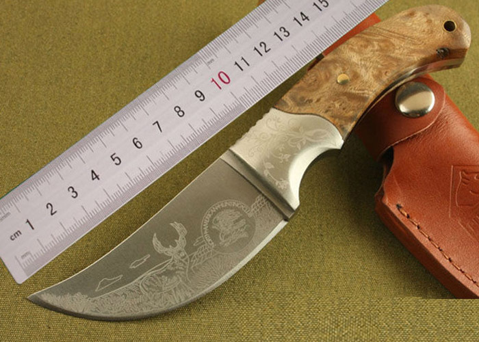 2pcs lot High Quality OEM Browning African Rhino Fixed Blade Hunting Knife 440 Blade Camping Knives