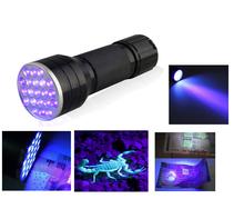 3AAA Aluminium Invisible Blacklight Ink Marker 21LED 21 LED UV Ultra Violet Flashlight Torch Light Lamp(China (Mainland))