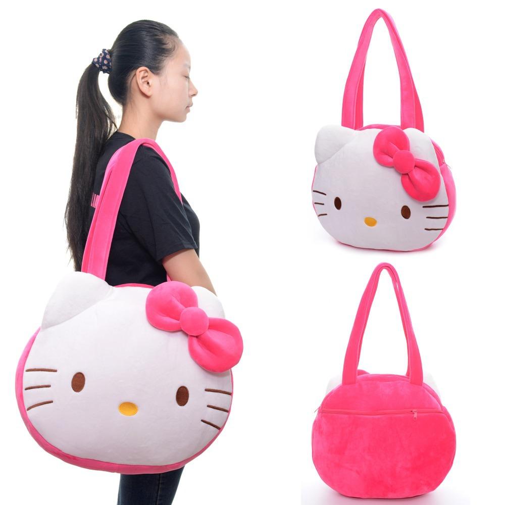 Kawaii Hello Kitty Tote Bag Plush Girls Women Cartoon White Large handbag Shoulder Casual Fashion Shopper Tote Bags 16*13''(China (Mainland))