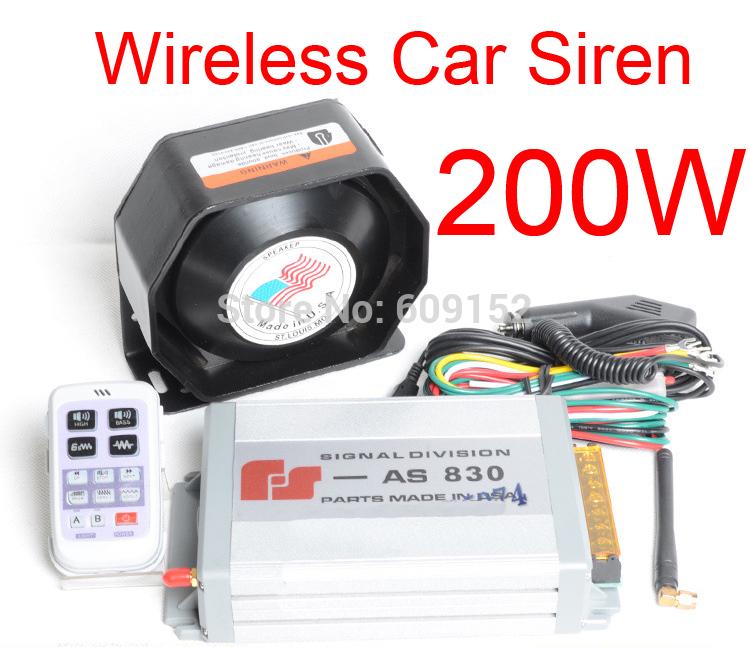 Wireless Police Fireman Ambulance Car Truck Autos Siren Alarm Horn 200W High power 11 tone Remote control Megaphone Loud Speaker(China (Mainland))