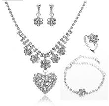 Luxury white crystal jewelry set heart pendant necklace fashion drop earrings big rhinestone rings jewelry wedding party costume(China (Mainland))