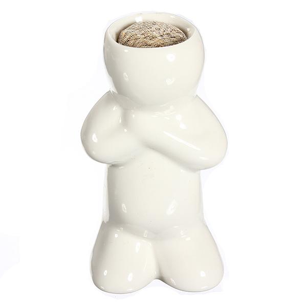Small Man Design DIY Ceramic Pot Bonsai Mini White Grass Magic Office Garden Desk Table Decor