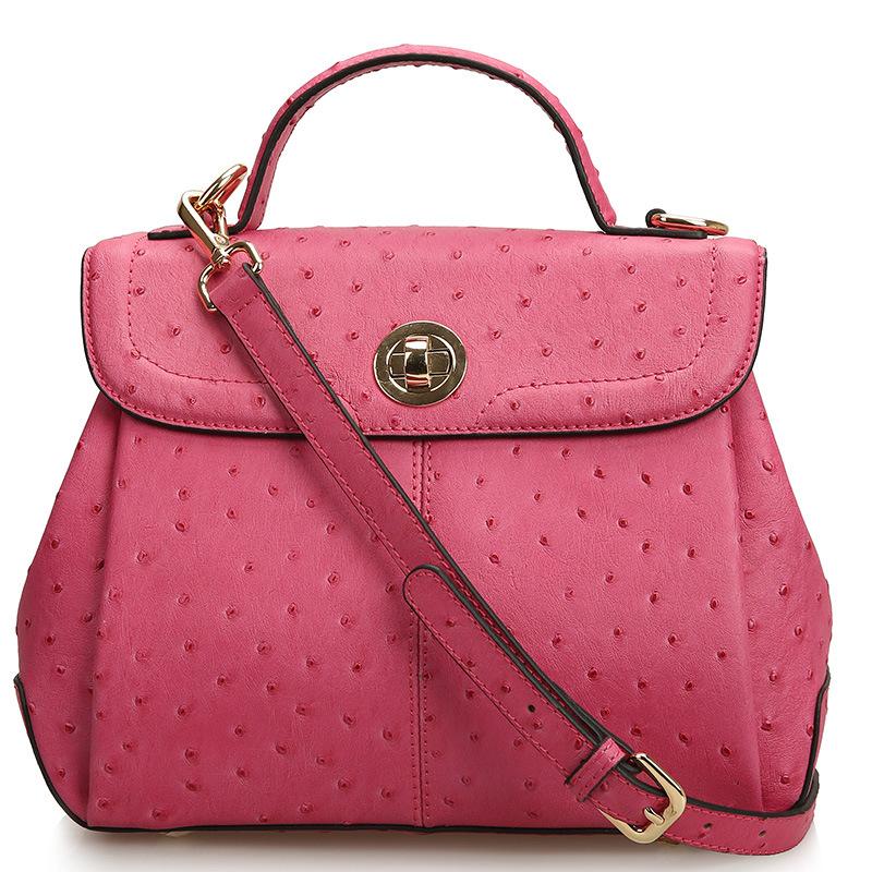 The 2015 Star Of The Same Paragraph Ostrich Grain Leather Leather Handbag Fashion New Handbag Crossbody Bag 0449(China (Mainland))