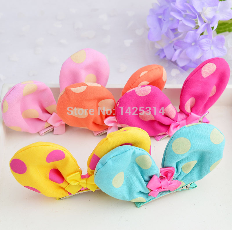 60Pc.Polka Dot hairpins For Baby girl Canvas Cloth Mickey Minnie Ears Bow with hair clip Children Barrettes Princess accessories(China (Mainland))