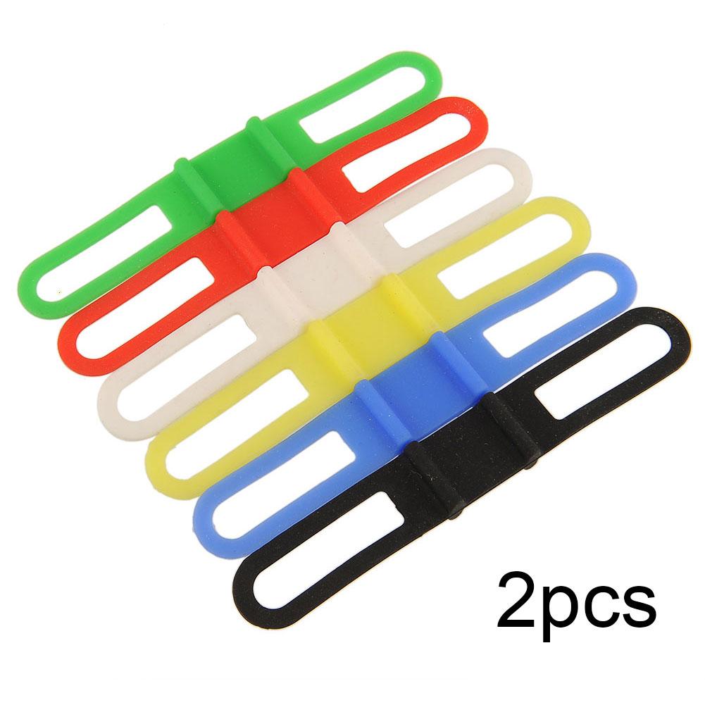 2Pcs Cycling Bike MTB Bicycle Silicone Elastic Rubber Strap Bandage Mount Holder For Light Flashlight Colorful Multicolor(China (Mainland))